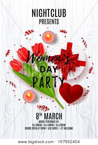 Party poster for Women's Day. Top view on composition with red tulips, gift box, case for ring, candles and confetti. Vector illustration with serpentine on wooden texture. Invitation to nightclub.