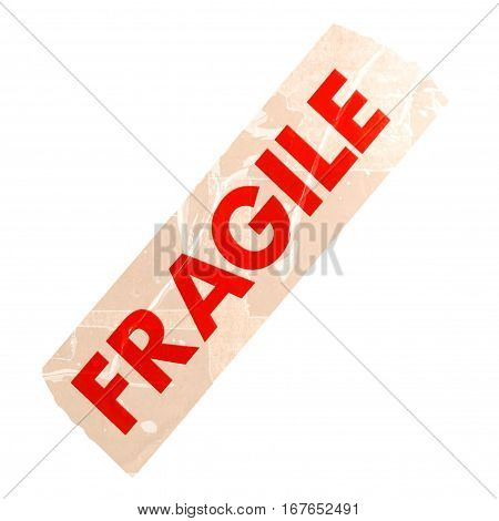 Fragile Label Isolated Over White