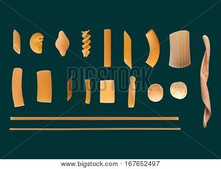 Traditional Italian Pasta, Dark Green Background