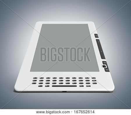 Blank E-book Reader 3D Render Image On Grey Gradient