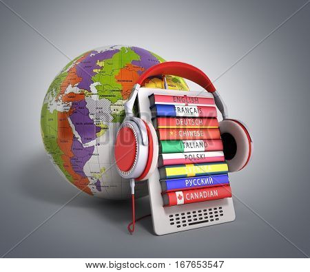 E-boock Whith Globe Audio Learning Languages 3D Render On Grey Gradient