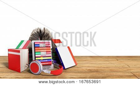 E-book Audio Learning Languages And Books On Wood 3D Render Success Knowlage Concept