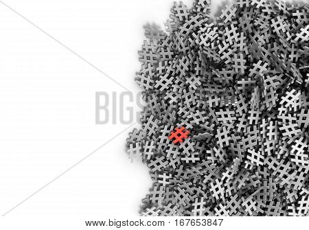 Infinite Hash-tags Isolated Red On A Plane Original 3D Rendering Illustration