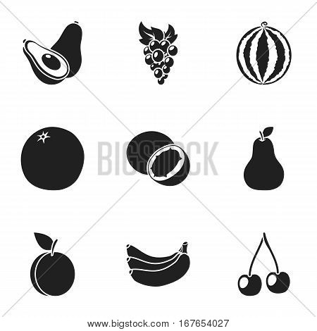 Fruits set icons in black style. Big collection of fruits vector symbol stock