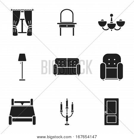 Furniture set icons in black style. Big collection of furniture vector symbol stock