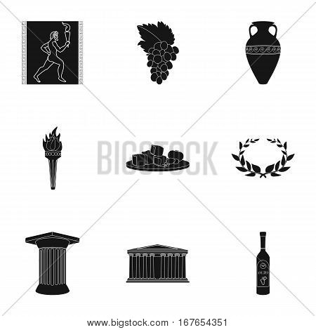 Greece set icons in black design. Big collection of Greece vector symbol stock illustration