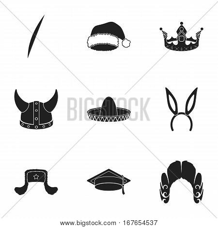 Hats set icons in black style. Big collection of hats vector symbol stock