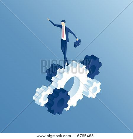 Isometric businessman goes on the prongs of the gear. the employee goes on the gears and rotate them business concept vector illustration