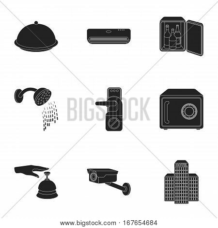 Hotel set icons in black style. Big collection of hotel vector symbol stock
