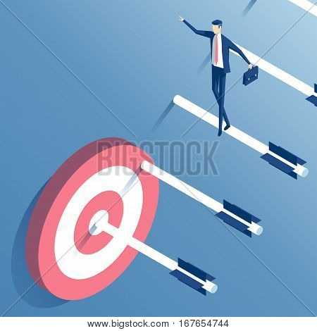 businessman goes up the stairs of arrows to the target an employee walks down the ladder of arrows shot from a bow towards its goal. business concept the path to the goal