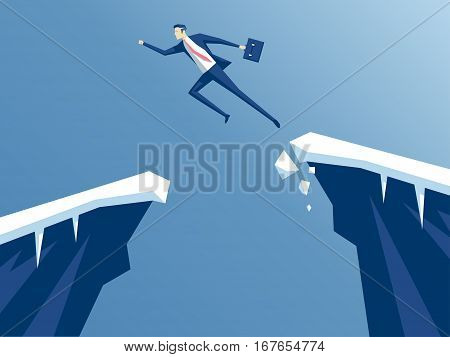 businessman jump through the gap in the rocks. an employee with a running jump from one cliff to another. the concept of business risk and success