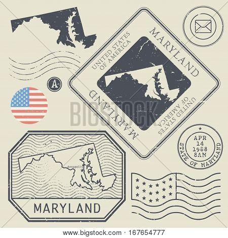 Retro vintage postage stamps set Maryland United States theme vector illustration
