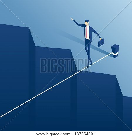 Isometric businessman tightrope walker is on the rope over the cliff. Clerk tightrope walker teetering on the cable over the abyss.Business concept obstacle and the risk