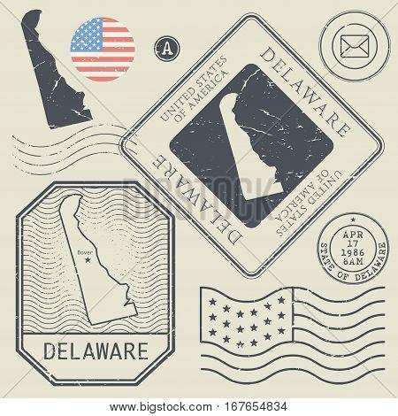 Retro vintage postage stamps set Delaware United States theme vector illustration