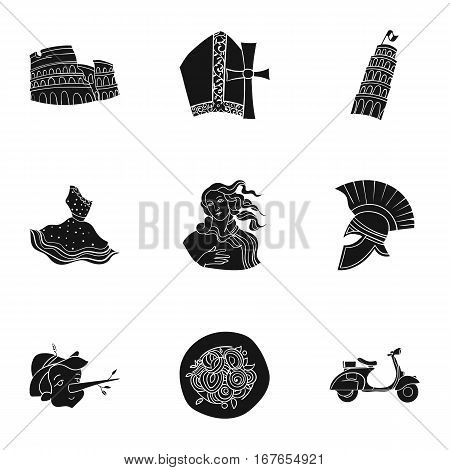 Italy country set icons in black design. Big collection of Italy country vector symbol stock illustration