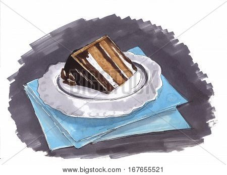 Desserts sketch. cake chocolate muffin, creamy pie, menu of bakery shop, cafe, cafeteria, patisserie white background