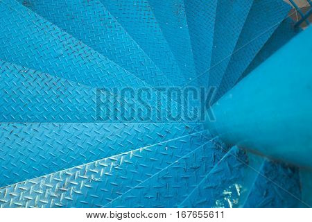 Spiral Stair Of Footbridge With The Sun Ray Light And Shadow In Daytime
