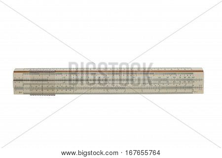 Slide rule by 25 centimeters on a white isolated background.