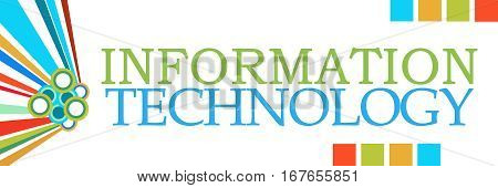 Information technology text written over colorful background.