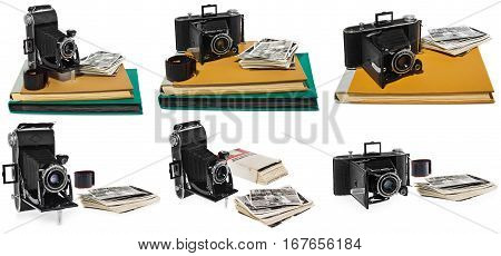 Set of pictures composition of: - Old black pocket camera, open ready for use. - Antique photo albums in yellow and green - Retro black and white photographs of two children and a dog - Historic negative for the camera