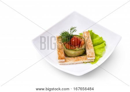 Vegetarian salad with croutons on a beautiful brown background