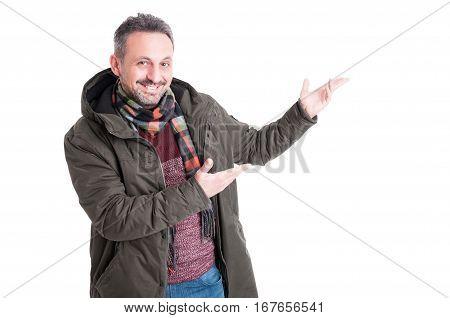 Man Posing Wearing Winter Showing Something