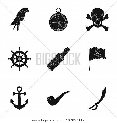 Pirates set icons in black design. Big collection of pirates vector symbol stock illustration