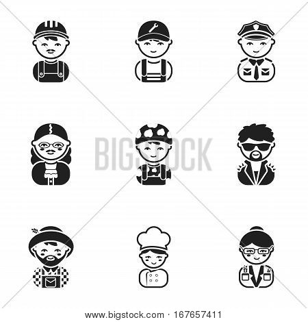 Profession set icons in black style. Big collection of profession vector symbol stock