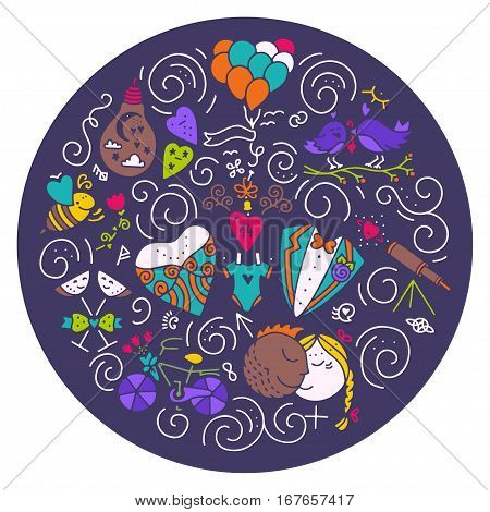 Circle design element with different romantic icons - wedding, gender, balloon, bee, bicycle, flower. Isolated vector design element made in trendy lifestyle. St. Valentines concept.