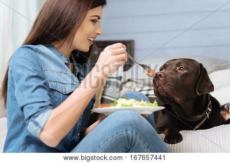 Just one bite. Smiling fresh slender woman giving her Labrador a piece of her breakfast while sitting the floor beside him