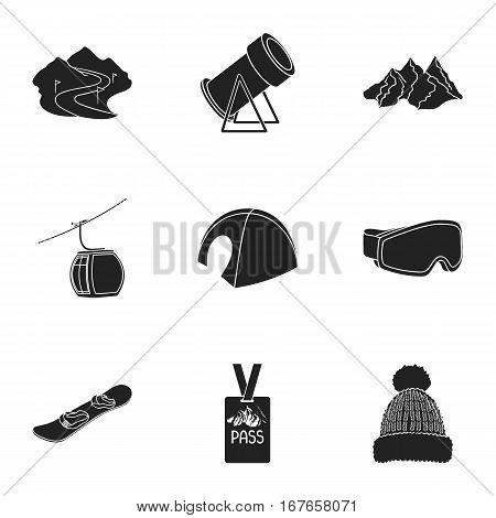 Ski resort set icons in black style. Big collection of ski resort vector symbol stock