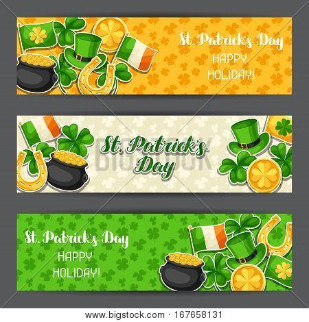 Saint Patricks Day banners. Flag Ireland, pot of gold coins, shamrocks, green hat and horseshoe.