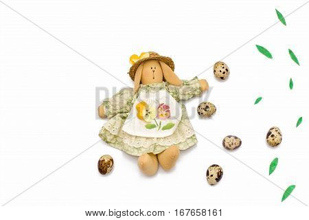 Quail Eggs, Easter Bunny, Willow Branches On White Background.