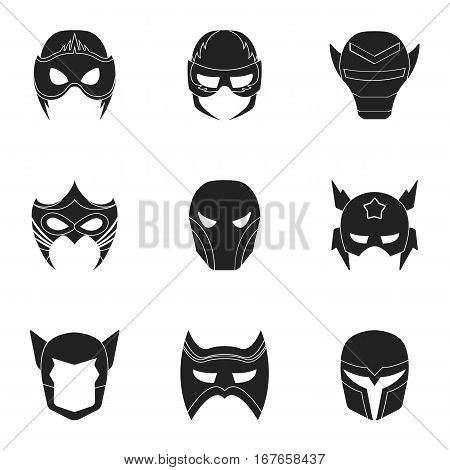 Superhero mask set icons in black style. Big collection of superhero mask vector symbol stock