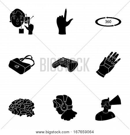 Virtual reality set icons in black design. Big collection of virtual reality vector symbol stock illustration