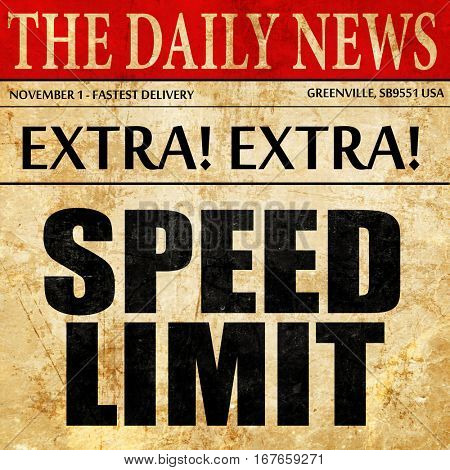 speed limit, newspaper article text