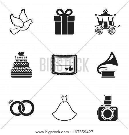 Weeding set icons in black style. Big collection of wedding vector symbol stock