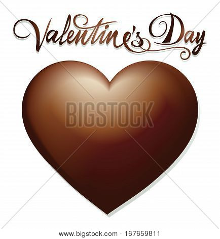 Chocolate Valentines heart - holiday vector illustration