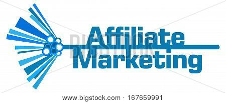 Affiliate marketing text written over blue abstract background.
