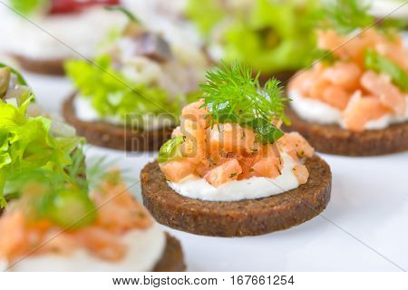 Tasty fish finger food  with smoked salmon tartar on horseradish, trout mousse with cranberries and herring salad on pumpernickel bread