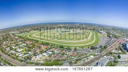 Aerial view of Caulfield Racecourse in Melbourne, Australia