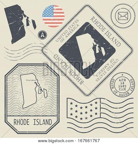Retro vintage postage stamps set Rhode Island United States theme vector illustration
