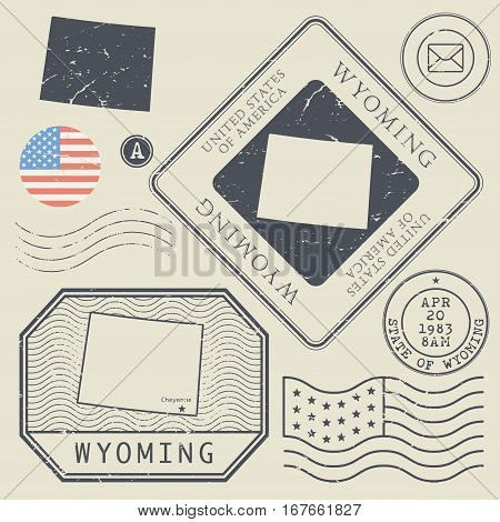 Retro vintage postage stamps set Wyoming United States theme vector illustration