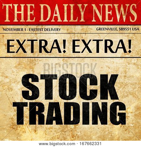 stock trading, newspaper article text