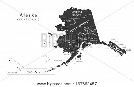 Modern Map - Alaska County Map With Labels Usa Illustration