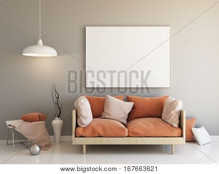 Interior mockup illustration, 3d render of room with sofa, grey wall with blank frame