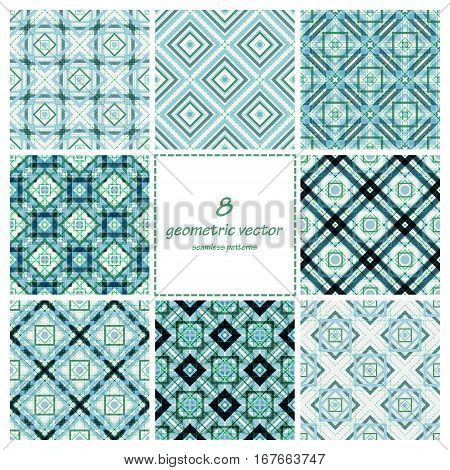 Geometric vector seamless decorative patterns set. Wrapping, tiling. Vector backgrounds collection. Graphic texture ornaments for design. Eps10