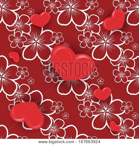 Valentine's day vector seamless.  Design element for wallpapers, web site backgrounds, wedding invitation, birthday or Valentines Day card, fabric print. Eps10