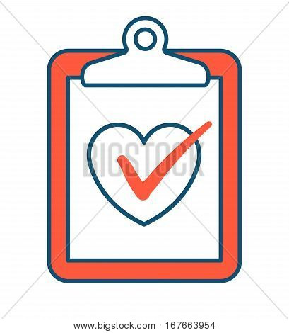 Vector illustration of red tablet clipboard with white paper and tick inside heart