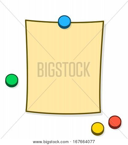 Blank memo or note with copy space and colorful thumb tacks or magnets pinned onto a white background cartoon vector illustration
